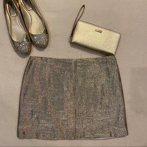 Alice + Olivia Metallic Gold Mini Skirt